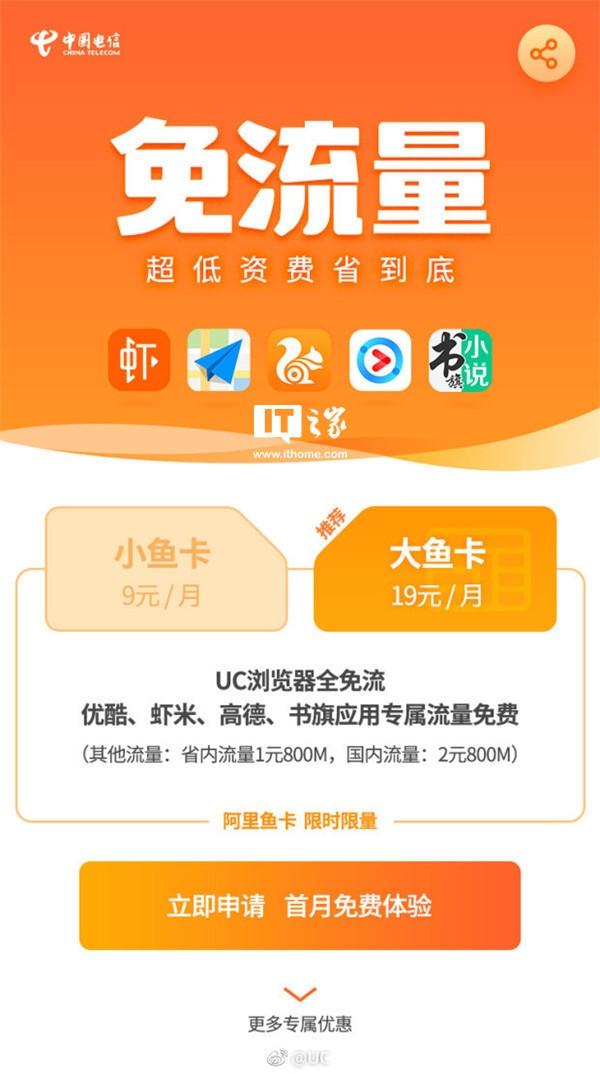 中国电信联手UC推阿里鱼卡:省内流量1元800M UC浏览器全免流